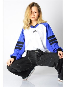 Vintage 90s White Blue Adidas Sports Top by Adidas