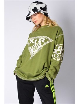 Vintage 90s Lime Green Graphic Sweatshirt by Kaleidoo