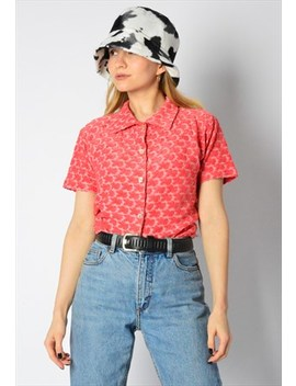 Vintage 80s Raspberry Pink Flower Top by Kaleidoo
