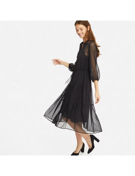 Women Chiffon 3/4 Sleeve Dress by Uniqlo