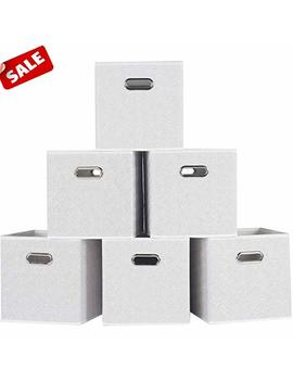 Shaco Durable Double Metal Handle Cloth Storage Cubes, White Foldable Fabric Drawers With Rose Print(6 Packs) by Shaco
