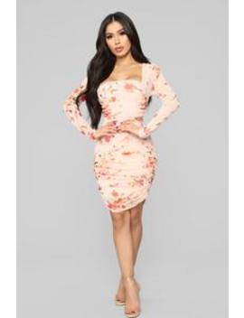 Just Been Kissed Mesh Mini Dress   Peach by Fashion Nova