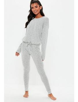 Grey Long Sleeve Drawstring Lounge Set by Missguided