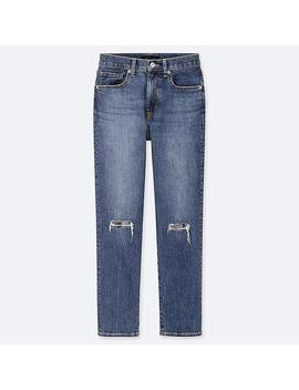 Women High Rise Straight Distressed Jeans by Uniqlo