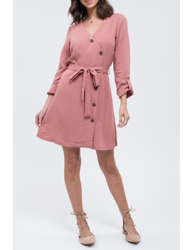 Front Wrap Button Down Dress by Blu Pepper
