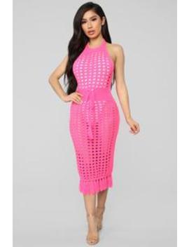 Soaking Up The Sun Dress   Neon Pink by Fashion Nova