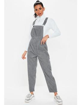 Gray Cord Dungaree Jumpsuit by Missguided