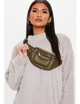 Khaki Faux Leather Fanny Pack by Missguided