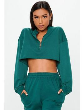 Teal Boxy Cropped Zip Front Sweatshirt by Missguided