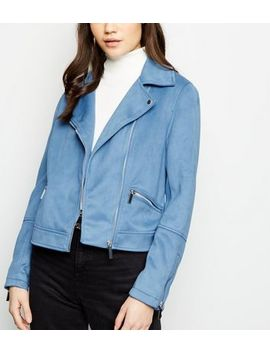 Bright Blue Suedette Biker Jacket by New Look