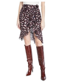 Lingo Printed High Waist Wrap Skirt by Iro