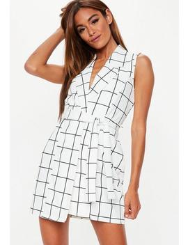 White Grid Plaid Blazer Shift Dress by Missguided