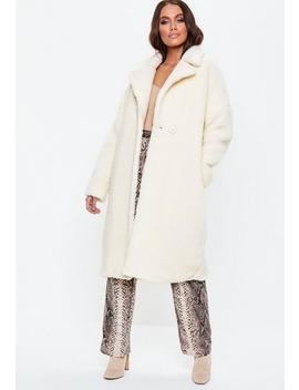White Oversized Chunky Borg Teddy Coat by Missguided