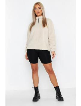 Plus Borg Zip Through Hoody by Boohoo