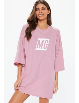 Mauve Mg Slogan Night T Shirt by Missguided