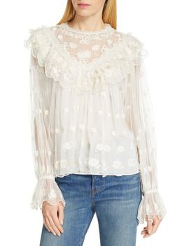 Lucien Embroidered Tulle Blouse by Ulla Johnson