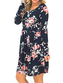 Simier Fariry Women Long Sleeve Floral Print Pocket Pleated Casual T Shirt Dress by Simier Fariry