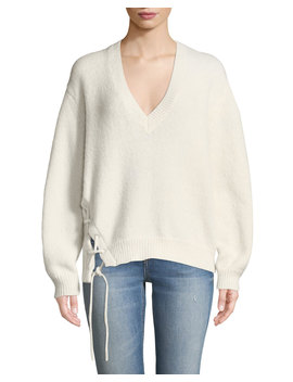 Mylo V Neck Alpaca Sweater With Lace Up Detail by Iro
