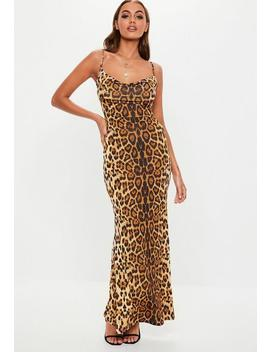 Tall Brown Leopard Cowl Neck Maxi Dress by Missguided