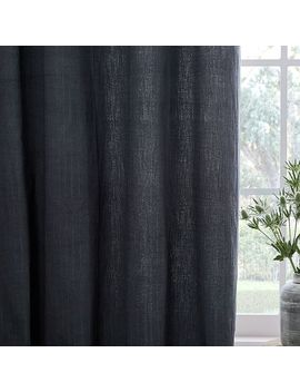 Textured Cotton Jacquard Curtain   Slate by West Elm