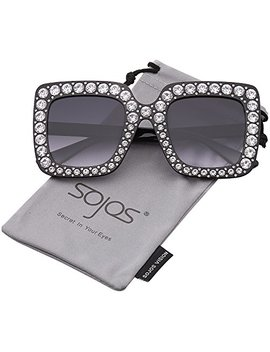 Sojos Crystal Oversized Square Brand Designer Sunglasses For Women Sj2053 Sj2047 by Sojos