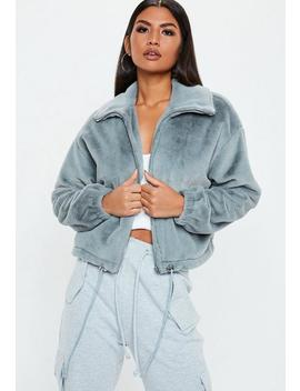 Veste Bomber Grise En Fausse Fourrure Tall by Missguided