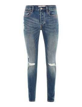 Mid Wash Stretch Skinny Jeans With Rips by Topman