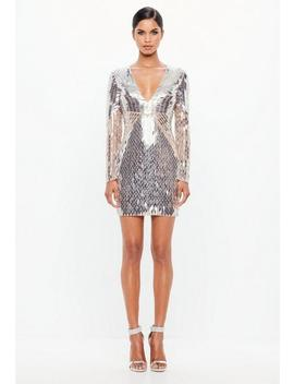 Peace + Love Silver Embellished Plunge Mini Dress by Missguided