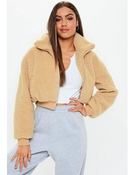 Cream Chunky Crop Zip Through Teddy Jacket by Missguided