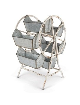"""21.65"""" Grey Galvanized Rustic Ferris Wheel Organizer With Six Buckets by Diva At Home"""