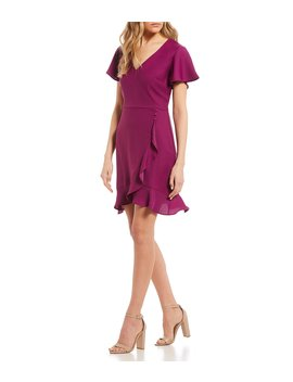 Ruffle Hem Faux Wrap Dress by Jodi Kristopher