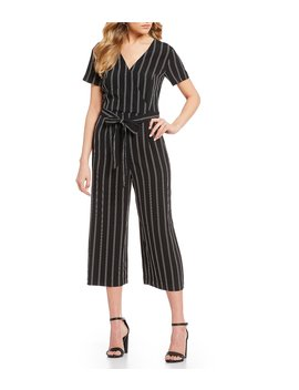 Surplice Striped Crop Jumpsuit by Takara