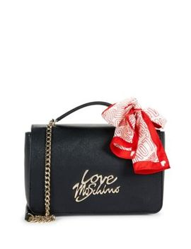 Tie Scarf Faux Leather Chain Shoulder Bag by Love Moschino