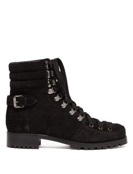 Who Runs Glitter Suede Hiking Boots by Christian Louboutin