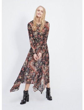 Black Scarf Print Hanky Hem Maxi Dress by Miss Selfridge