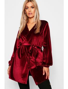 Plus Velvet Balloon Sleeve Tie Duster by Boohoo
