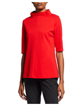 High Neck Elbow Sleeve Ponte Top by Donna Degnan