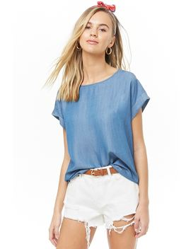 Cuffed Sleeve Chambray Top by Forever 21