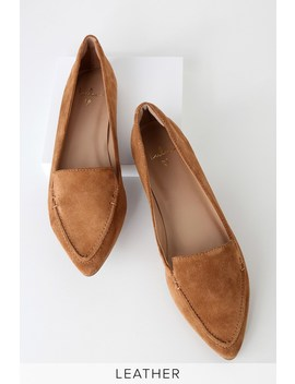 Emmy Leather Camel Suede Pointed Toe Loafers by Lulus