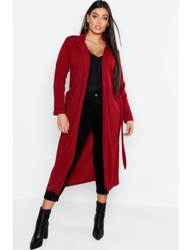 Plus Crepe Belted Longline Duster by Boohoo