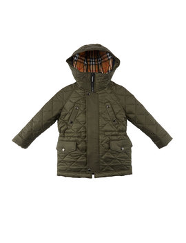 Tyler Diamond Quilted Hooded Coat, Size 3 14 by Burberry