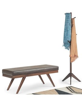 Wyndernhall Nadine Mid Century Upholstered Ottoman Bench by Wynden Hall