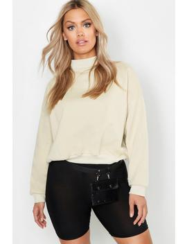 Plus High Neck Brushed Back Sweater by Boohoo