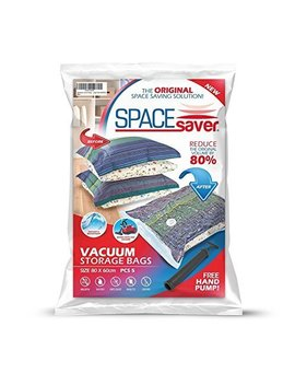 Spacesaver Premium Large Vacuum Storage Bags (Works With Any Vacuum Cleaner + Free Hand Pump For Travel!) Double Zip Seal And Triple Seal Turbo Valve For 80 Percents More Compression! (5 Pack) by Spacesaver