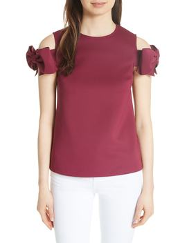 Mendoll Bow Sleeve Cold Shoulder Top by Ted Baker London