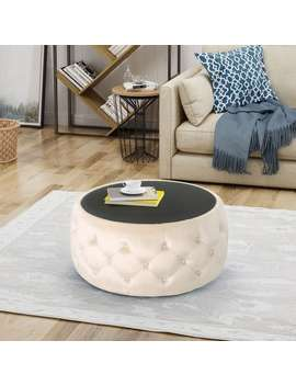 Chana Glam Velvet And Tempered Glass Coffee Table Ottoman By Christopher Knight Home by Christopher Knight Home