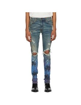 Indigo Night Palm Thrasher Jeans by Amiri