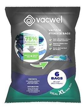 "Vacwel Vac J6 Jumbo Vacuum Storage Bags For Clothes, Quilts, Pillows, Space Saver Size 43x30"" Extra Strong (Pack Of 6), 6, Transparent by Vacwel"