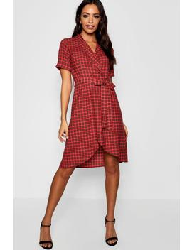 Tartan Print Belted Wrap Midi Dress by Boohoo