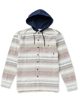 Men's Baja Regular Fit Stripe Hooded Flannel Shirt by Billabong